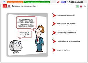 Experimentos aleatorios. Autoevaluación. Matemáticas para 2º de Secundaria