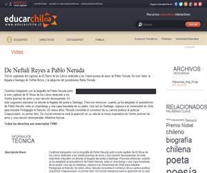 De Neftalí Reyes a Pablo Neruda (Educarchile)