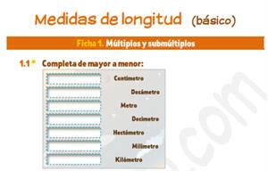 Medidas de longitud (nivel básico) - Ficha de ejercicios