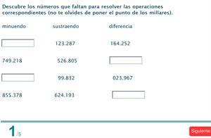 Test interactivo: sumas y restas; números romanos; redondeo;y,  aproximación (5º Primaria SM)