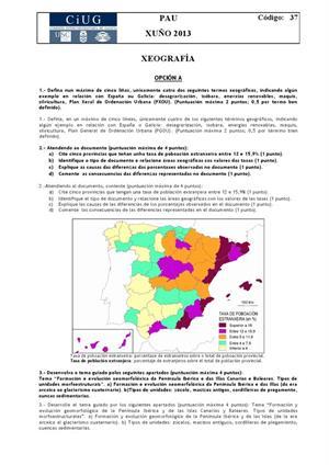 Examen de Selectividad: Geografía. Galicia. Convocatoria Junio 2013
