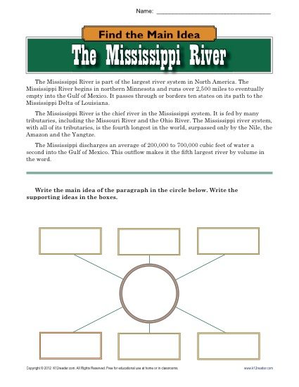 Find the Main Idea: The Mississippi River