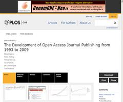 PLOS ONE: The Development of Open Access Journal Publishing from 1993 to 2009