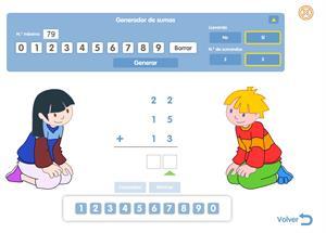Generador de sumas de 2 y 3 sumandos (de una cifra). Editorial Santillana
