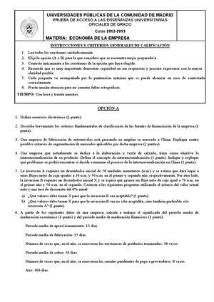 Examen de Selectividad: Economía. Madrid. Convocatoria Junio 2013