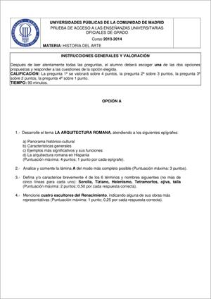 Examen de Selectividad: Historia del arte. Madrid. Convocatoria Junio 2014