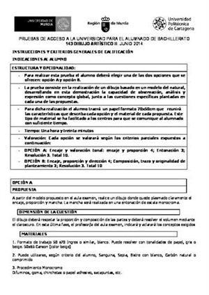Examen de Selectividad: Dibujo artístico. Murcia. Convocatoria Junio 2014