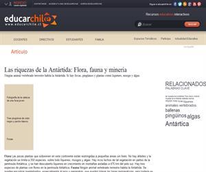Las riquezas de la Antártida: Flora, fauna y minería (Educarchile)