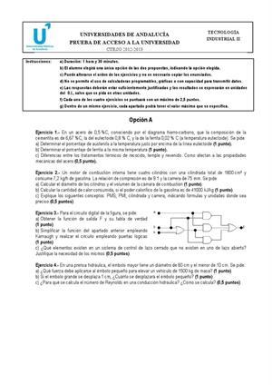 Examen de Selectividad: Tecnología industrial. Andalucía. Convocatoria Junio 2013
