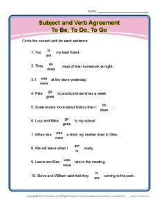 Subject Verb Agreement: To Be, To Do, To Go
