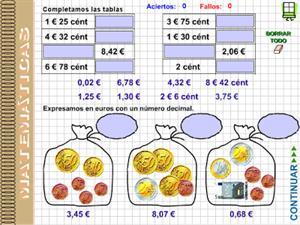 Euros, céntimos y números decimales