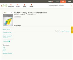 CK-12 Geometry - Basic, Teacher's Editio? Basic