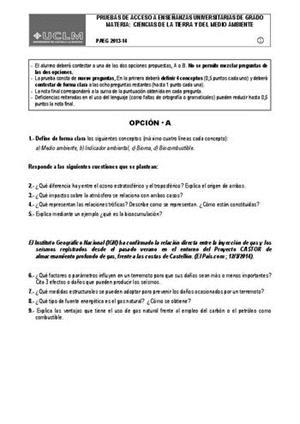 Examen de Selectividad: Ciencias de la Tierra. Castilla-La Mancha. Convocatoria Junio 2014