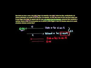Problema temprano en el tren: ejercicio de álgebra (Khan Academy Español)