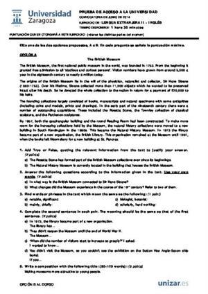 Examen de Selectividad: Inglés. Aragón. Convocatoria Junio 2014