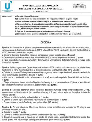Examen de Selectividad: Tecnología Industrial 1. Andalucía. Convocatoria Junio 2012
