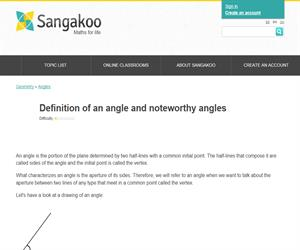 Definition of an angle and noteworthy angles