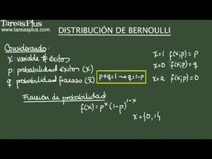 Distribución de Bernoulli (para variables aleatorias discretas) (Tareas Plus)