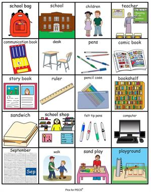 Pictogramas de Vuelta al cole (inglés). PECS back to school (Pyramid Educational Consultants UK Ltd)