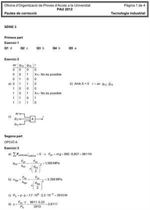 Examen de Selectividad (Soluciones): Tecnología Industrial. Cataluña. Convocatoria Junio 2012