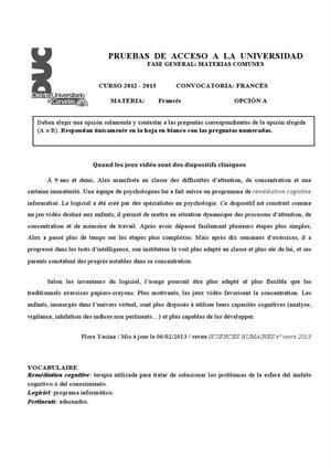 Examen de Selectividad: Francés. Canarias. Convocatoria Julio 2013