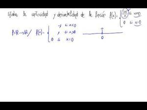 Continuidad y derivabilidad de una función (función partida)