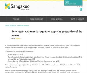 Solving an exponential equation applying properties of the power