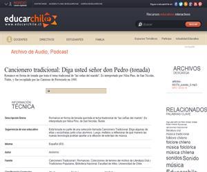 Cancionero tradicional: Diga usted señor don Pedro -tonada- (Educarchile)