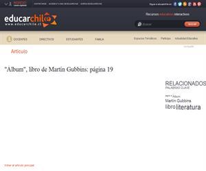 """""""Álbum"""", libro de Martín Gubbins: página 19 (Educarchile)"""