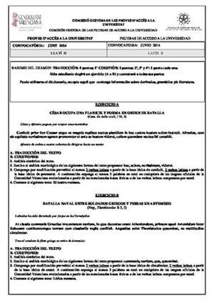 Examen de Selectividad: Latín. Comunidad Valenciana. Convocatoria Junio 2014