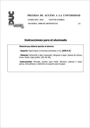 Examen de Selectividad: Dibujo artístico. Comunidad Canaria. Convocatoria Junio 2014