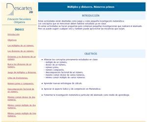 Múltiplos y divisores. Números primos (Descartes)
