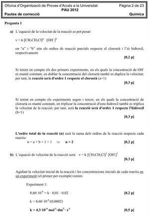 Examen de Selectividad (Soluciones): Química. Cataluña. Convocatoria Junio 2012