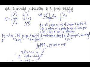 Continuidad y derivabilidad de una función (valor absoluto)