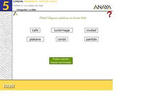 Ortografía. La tilde II. Editorial Anaya