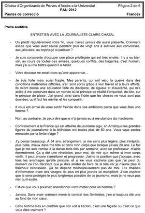 Examen de Selectividad (Soluciones): Francés. Cataluña. Convocatoria Junio 2012