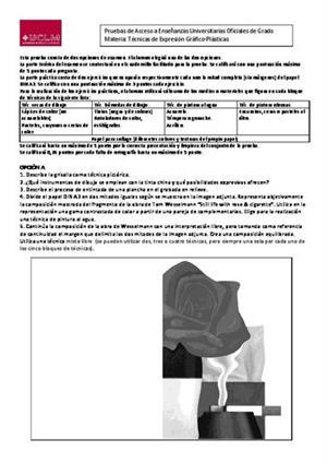 Examen de Selectividad: Técnicas de expresión grafo-plástica. Castilla-La Mancha. Convocatoria Junio 2014