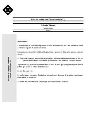 Examen de Selectividad: Dibujo técnico. Islas Baleares. Convocatoria Septiembre 2013