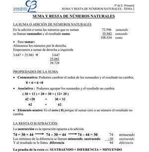 Suma y resta de números naturales (Clarion Web- CEIP Bretón de los Herreros)