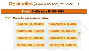Decimales (dividir entre 10,100, 0'1, 0'01, …) - Ficha de ejercicios
