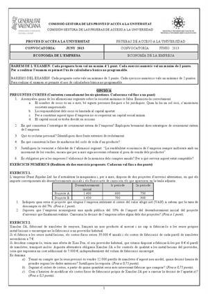 Examen de Selectividad: Economía. Comunidad Valenciana. Convocatoria Junio 2013