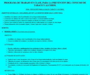 Programa de Trabajo en clase para la prevención del consumo de tabaco y alcohol (ESO y Bachillerato)