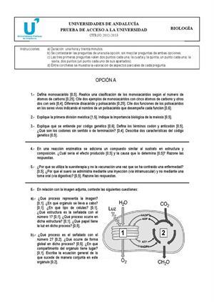 Examen de Selectividad: Biología. Andalucía. Convocatoria Septiembre 2013