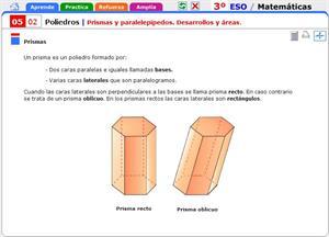 Prismas y paralelepípedos. Desarrollos y áreas. Matemáticas para 3º de Secundaria