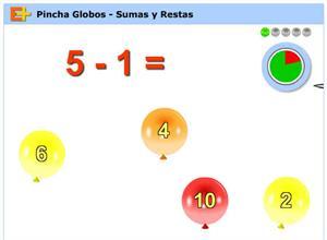 Pincha globos, juego educativo de Sumas y Restas (educaplus.org)