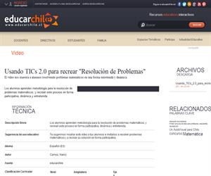 """Usando TICs 2.0 para recrear """"Resolución de Problemas"""" (Educarchile)"""