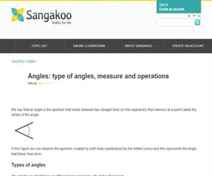 Angles: type of angles, measure and operations