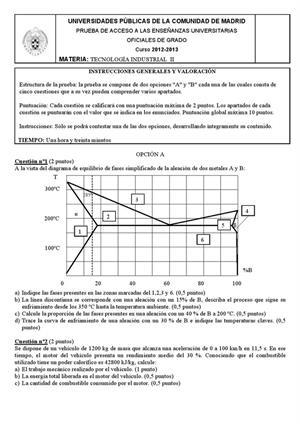 Examen de Selectividad: Tecnología industrial. Madrid. Convocatoria Septiembre 2013