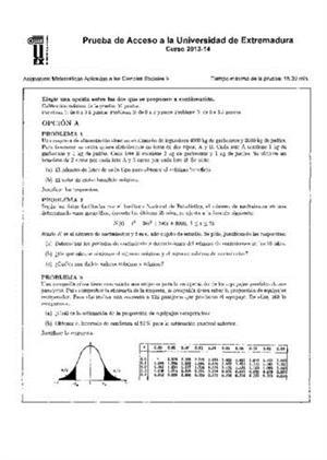 Examen de Selectividad: Matemáticas CCSS. Extremadura. Convocatoria Junio 2014