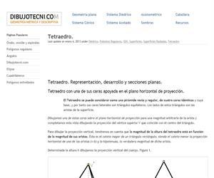 Tetraedro. Representación y secciones.